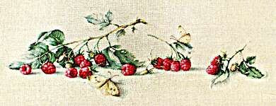 Click for more details of Raspberries with Butterflies (cross stitch) by Luca - S