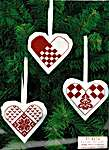 Click for more details of Red and White Hearts Christmas Tree Ornaments (cross stitch) by Permin of Copenhagen