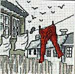 Click for more details of Red Trousers (cross stitch) by Permin of Copenhagen
