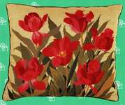 Click for more details of Red Tulips Cushion Front (tapestry) by Eva Rosenstand