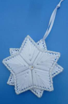 Click for more details of Ribbon Star Ornament (ribbon embroidery) by Anne Peden