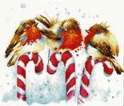 Click for more details of Robins and Candy Canes (cross stitch) by Luca - S