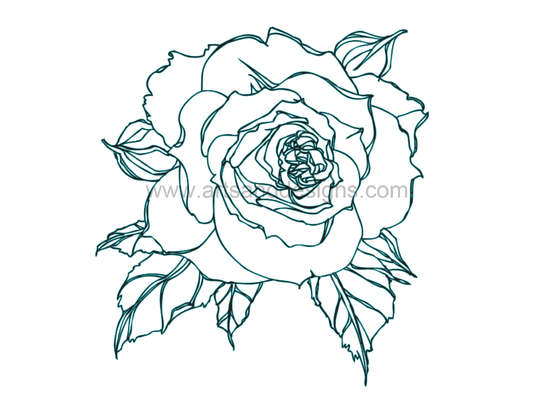 Click for more details of Romantic Rose Digital Stamp - Teal/Black (digital downloads) by Julie Lynes