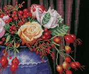 Click for more details of Rose Hip Bouquet (cross-stitch kit) by Lanarte