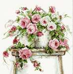 Click for more details of Roses on a Stool (cross stitch) by Luca - S