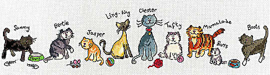 Click for more details of Row of Cats (cross-stitch kit) by Bothy Threads