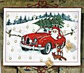Click for more details of Santa in Car Advent Calendar (cross stitch) by Permin of Copenhagen