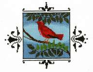 Click for more details of Scarlet Tanager (cross stitch) by Nora Corbett