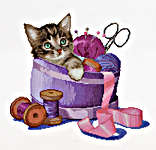 Click for more details of Sewing Basket Kitten (cross-stitch kit) by Thea Gouverneur