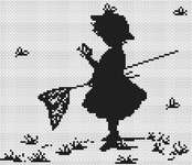 Silhouette Girl with Butterflies