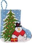 Snowman with Tree Mini Stocking