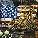 Click for more details of Stars and Stripes Cushion Front (tapestry) by Glorafilia