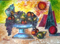 Click for more details of Still Life with Geometric Cubism (oil on board) by gianbencio