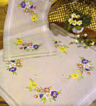 Click for more details of Summer Flowers on Natural Table Cover (embroidery) by Permin of Copenhagen