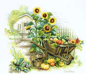 Click for more details of Sunflowers and Wheelbarrow (cross-stitch kit) by Lanarte