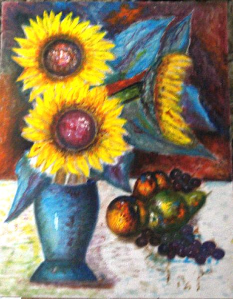Click for more details of Sunflowers with Still life (oil on board) by gianbencio