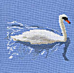Click for more details of Swan on the River Thames at Abingdon (cross stitch) by Anne Peden