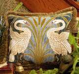 Click for more details of Swans Cushion (tapestry) by Glorafilia