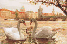 Click for more details of Swans Prague (cross stitch) by Riolis