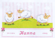 Click for more details of Sweet Little Lambs (cross stitch) by Vervaco