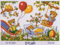 Click for more details of Teddies Birth Sampler (cross stitch) by Vervaco
