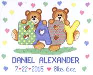 Click for more details of Teddy Bear Birth Announcement (cross stitch) by Janlynn