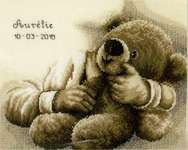 Click for more details of Teddy Bear Birth Record (cross stitch) by Vervaco