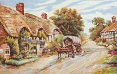 Click for more details of Thatched Cottage Lane (tapestry) by Grafitec
