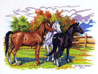 Click for more details of Three Horses (cross stitch) by Eva Rosenstand