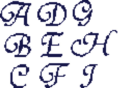 Click for more details of Tiranti Font Alphabet (cross stitch) by Anne Peden