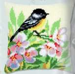 Click for more details of Tit and Blossom Cushion (tapestry) by Vervaco