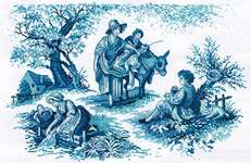 Click for more details of Toile de Jouy (cross stitch) by Lesley Teare