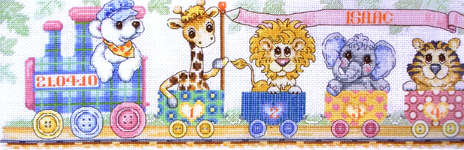 Click for more details of Train Birth Sampler (cross stitch) by Anchor