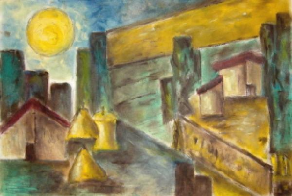 Click for more details of   Tuscan landscape in moonlight (oil on board) by gianbencio