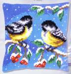 Two Birds in Winter Cushion Front