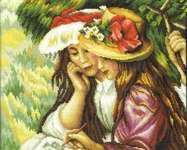 Click for more details of Two Girls Drawing (after Renoir) (cross stitch) by RTO