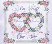Click for more details of Two Hearts, One Love (cross stitch) by Janlynn