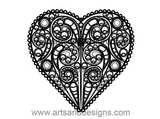Click for more details of Valentines Filligree Heart in Midnight Black (digital downloads) by Julie Lynes