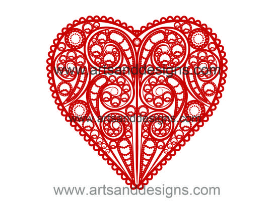 Click for more details of Valentines Filligree Heart in Red Velvet (digital downloads) by Julie Lynes