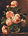 Click for more details of Vase of Peach Roses (cross stitch) by Luca - S