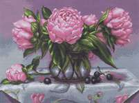 Click for more details of Vase of Peonies (cross stitch) by Luca - S