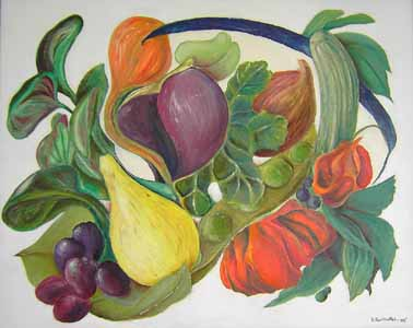 Click for more details of Veg and Fruit Medley (oil on canvas) by Shirley Rothwell