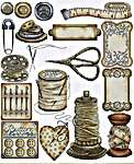 Click for more details of Vintage Sewing Accessories (cross stitch) by Les Petites Croix de Lucie