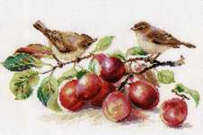 Click for more details of Warblers and Plums (cross stitch) by Alisa