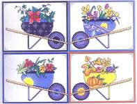 Click for more details of Wheelbarrow Seasons (cross stitch) by Vickery Collection