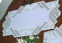 Click for more details of White Daisy Table Runner (hardanger kit) by Permin of Copenhagen
