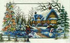 Click for more details of Winter Cottage (no-count cross stitch) by Needleart World