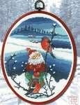 Click for more details of Winter Landscape - Santa's Elf with Bullfinch (cross stitch) by Permin of Copenhagen
