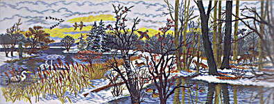 Click for more details of Winter Wildlife Scene (cross stitch) by Eva Rosenstand