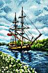 Click for more details of With a Flavour of Salt, Wind and Sun: Tall Ship (cross stitch) by RTO